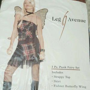 LEG AVENUE 3 PC PUNK FAIRY SET COSTUME BLACK PLAID